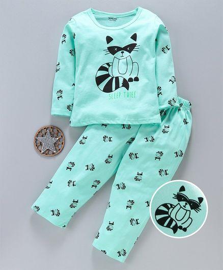 Doreme Full Sleeves Night Suit Kitty Print - Green