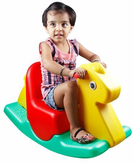 Kiddie Fun Giraffe Shape Baby Rocker With Handle - Yellow Red