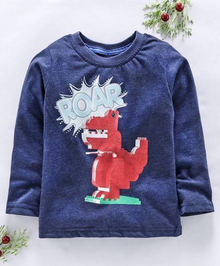 Kookie Kids Full Sleeves Tee Dino Print - Dark Blue