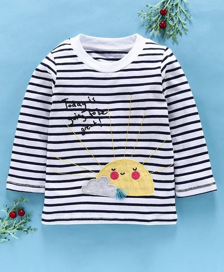 Kookie Kids Full Sleeves Striped Tee Construction Sun Patch - White