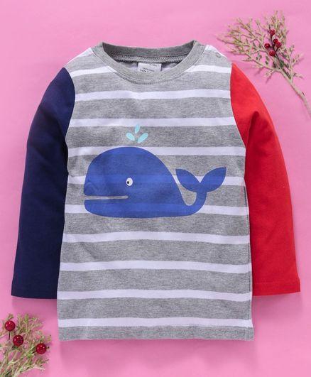 Kookie Kids Full Sleeves Striped Tee Whale Print - Grey