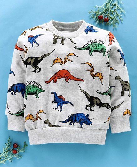 Kookie Kids Full Sleeves Tee Dino Print - Light Grey