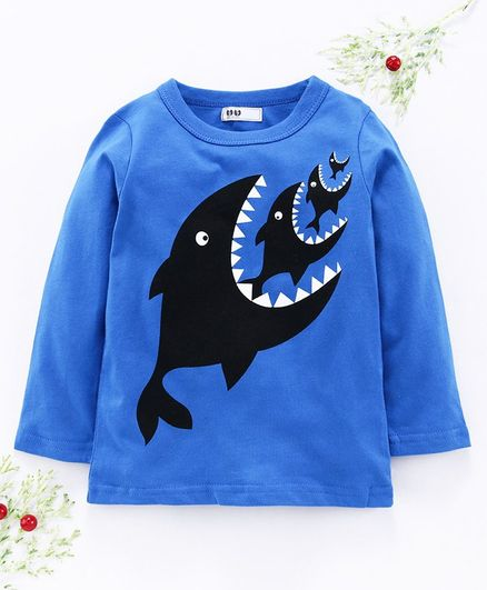 Kookie Kids Full Sleeves Tee Fish Print - Blue