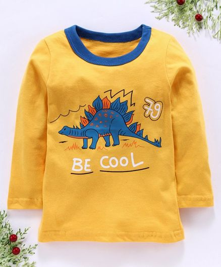 Kookie Kids Full Sleeves Tee Be Cool Print - Yellow