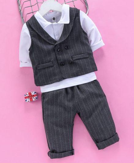 Lekeer Kids 3 Piece Striped Party Suit - Dark Grey