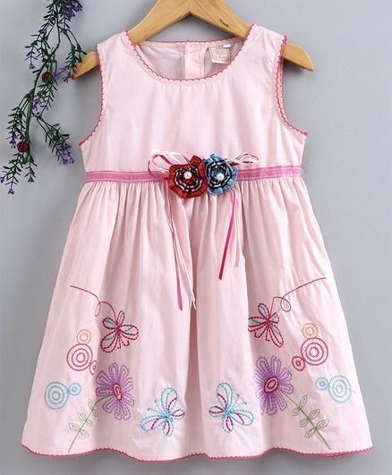 Smile Rabbit Sleeveless Frock Floral Embroidery - Light Pink
