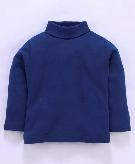 Zero Full Sleeves Winter Wear High Neck Solid Tee - Blue