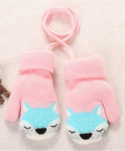 Flaunt Chic Fox Design Mittens - Light Pink