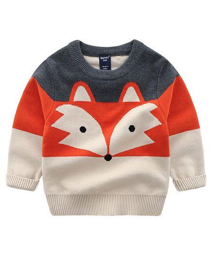 Pre Order - Awabox Fox Design Full Sleeves Sweater - Orange