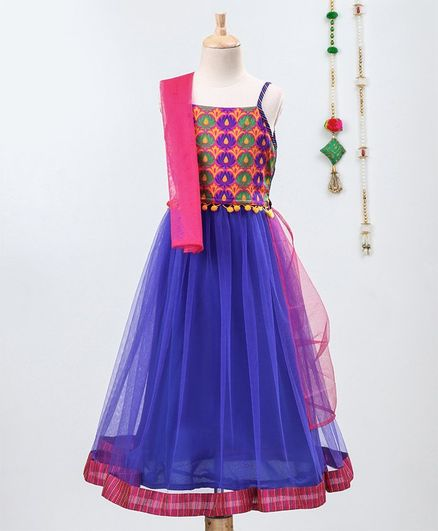 Many Frocks & Motif Work Sleeveless Choli With Lehenga & Dupatta - Blue