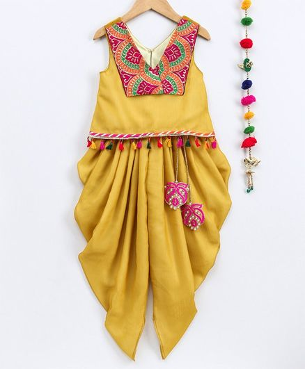 Many Frocks & Embridered Patch Detailed Sleeveless Top With Latkan Attached Dhoti - Yellow