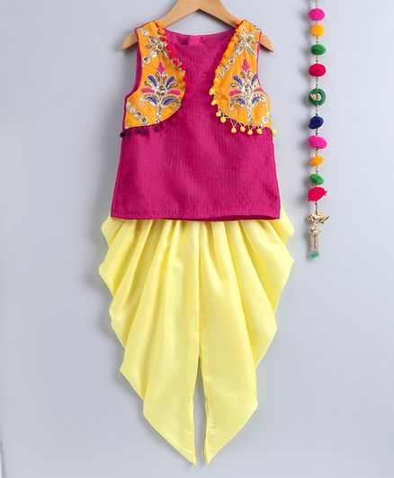 Many Frocks & Flower Embellished Pom Pom Detailed Sleeveless Top With Elasticated Dhoti  - Pink & Yellow