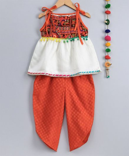 Many Frocks & Pom Pom Lace Detailed Sleeveless Top With Self Design Dhoti - Orange & Off White
