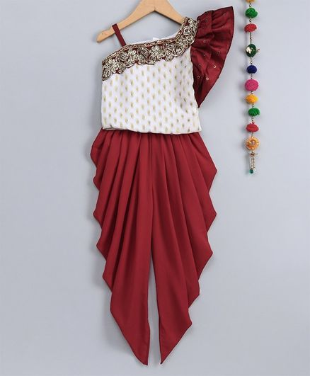 Many Frocks & Sleeveless Lacey Neckline Ruffled One Shoulder Top With Dhoti - Off White & Maroon