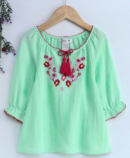 Memory Life Full Sleeves Frock Floral Embroidery - Green