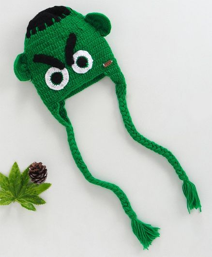 Knitting By Love Angry Face Design Crochet Cap - Green