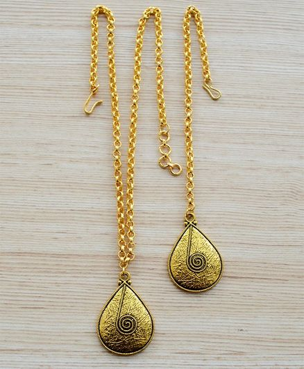 Pretty Ponytails Contemporary Textured And Granular Maang Tikka And Necklace Set Accessories Festival Jewelry - Gold