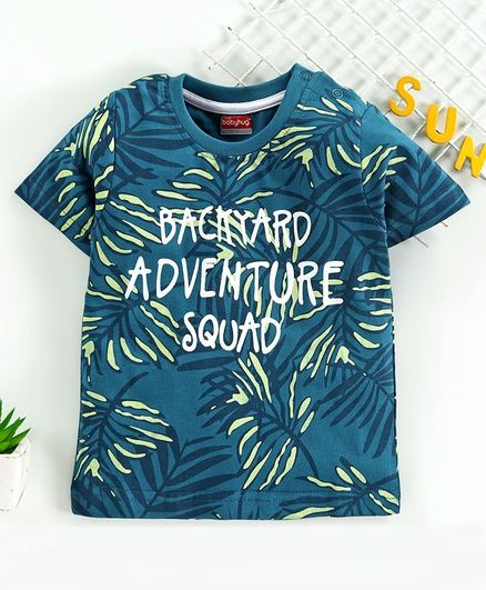 Babyhug Half Sleeves T-Shirt Leaf Print - Blue