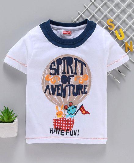 Babyhug Half Sleeves T-Shirt Graphic Print - White