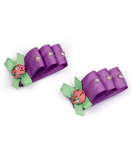 Ribbon Candy Bow Detailed Alligator Clip - Purple