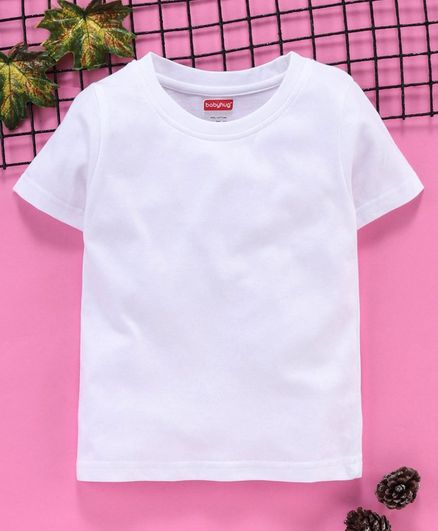 Babyhug 100 % Cotton Half Sleeves Tee - White