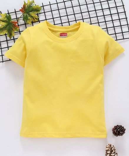 Babyhug 100 % Cotton Half Sleeves Tee - Yellow