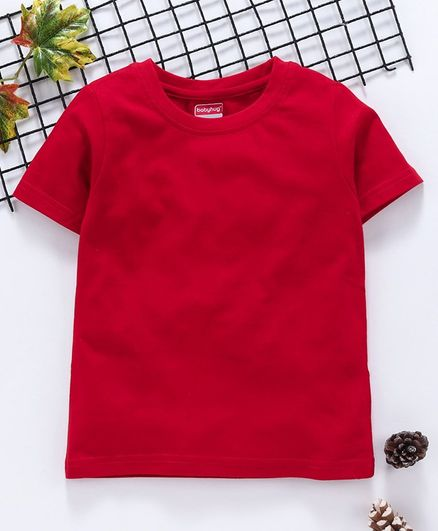 Babyhug 100 % Cotton Half Sleeves Tee - Red