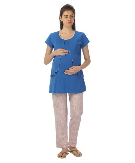 Kriti Short Sleeves Maternity Night Wear - Blue Pink