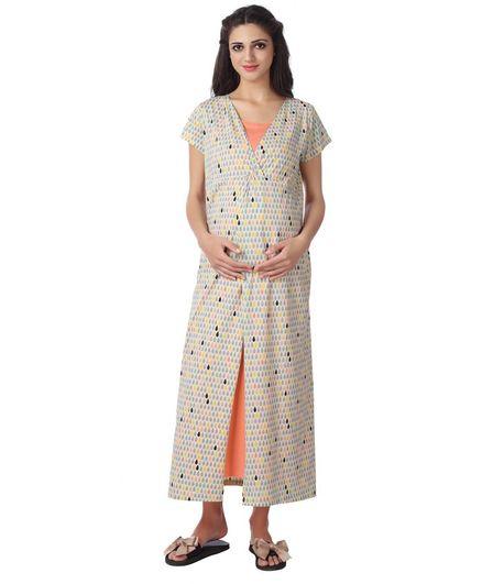 Kriti Full Length Maternity & Nursing Nighty Drop Print - Beige Peach