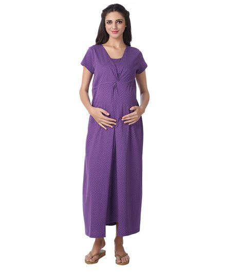 Kriti Full Length Maternity & Nursing Polka Dotted Nighty - Purple