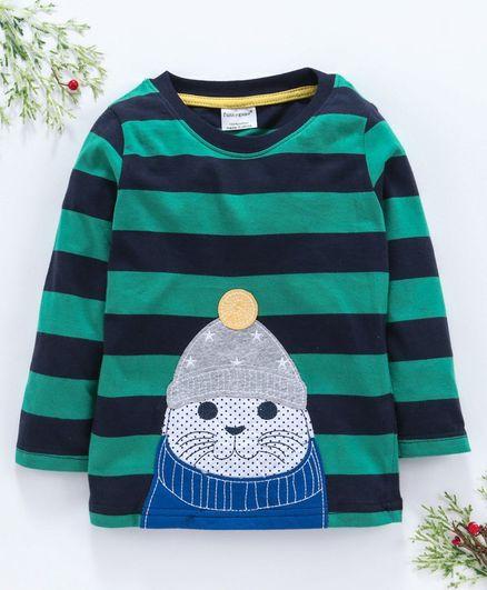 Kookie Kids Full Sleeves Striped Tee Seal Patch - Green