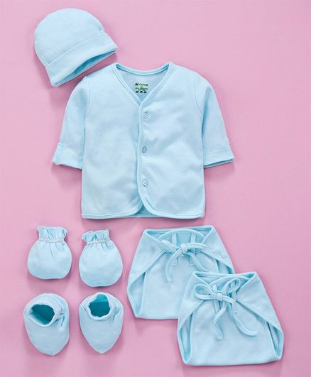 Ohms Organic Cotton Infant Clothing Gift Set Blue - Pack of 5