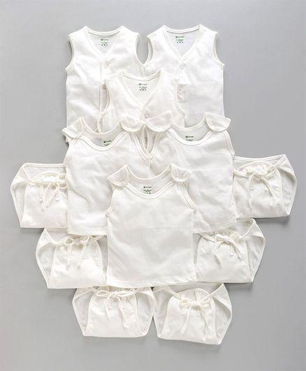 Ohms Organic Cotton Infant Clothing Gift Set White - Pack of 12