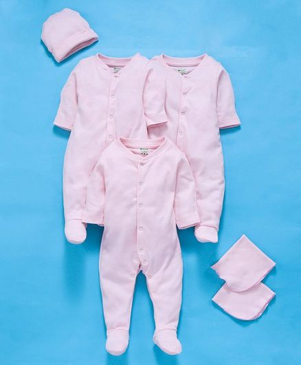 Ohms Full Sleeves Sleepsuits And Napkins With Cap Pink - Pack of 6