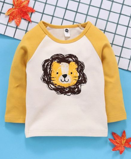 Lekeer Full Sleeves Raglan Tee Lion Print - Yellow White