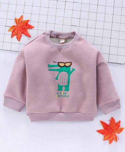 Lekeer Kids Full Sleeves Winter Wear Tee Croc Print - Dusky Pink