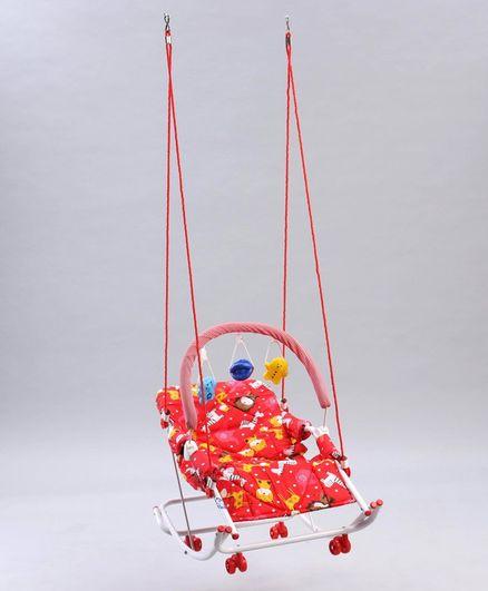 New Natraj Rocker Swing With Toys Animal Print - Red