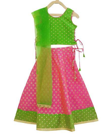 Campana Motif All Over Print Sleeveless Choli With Lehenga & Net Dupatta - Pink & Green