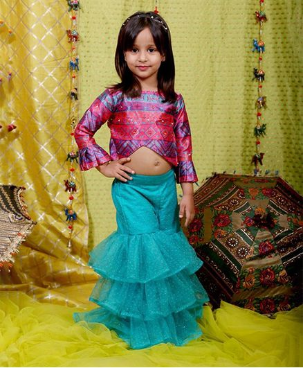 Varsha Showering Trends Ruffled Full Sleeves Printed Top With Frill Sharara - Light Blue