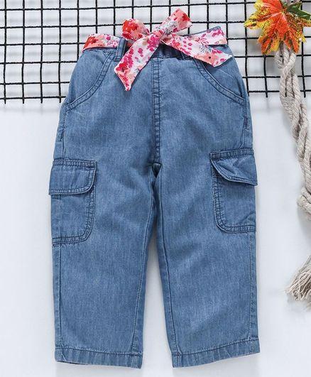 Babyhug Full Length Jeans With Fabric Belt - Blue