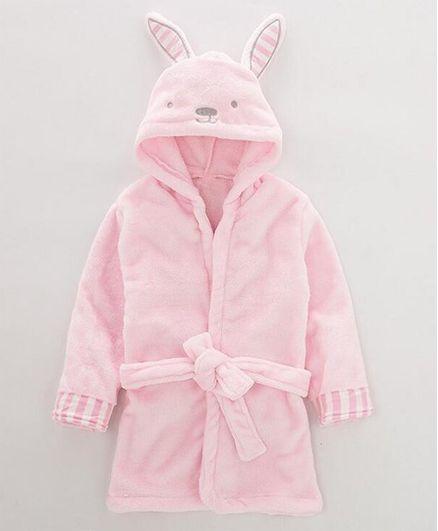 Pre Order - Awabox Bunny Ear Applique Full Sleeves Bathrobe - Light Pink