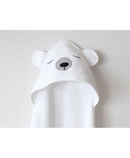 Masilo Polar Bear Cotton  Hooded Towel  - White