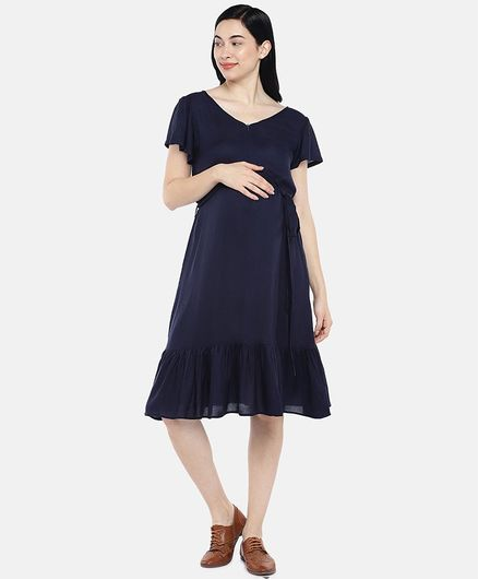 Blush 9 Solid Half Sleeves Frill Maternity Dress - Navy Blue