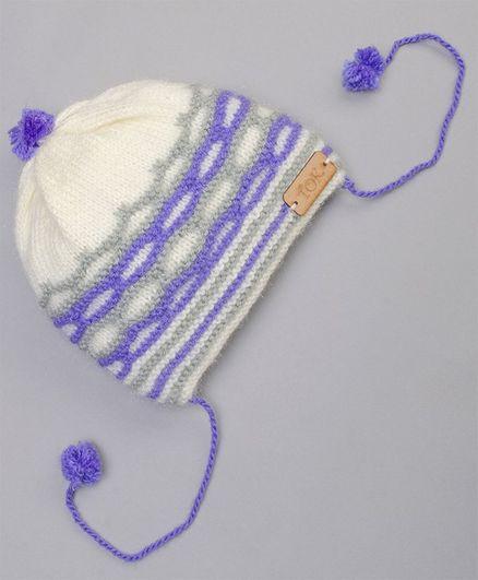 The Original Knit Striped Pattern Cap - Off White