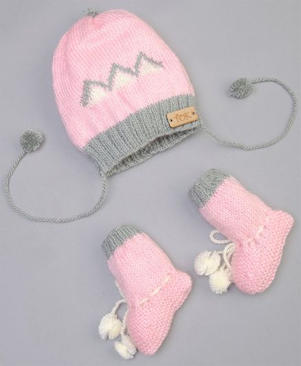 The Original Knit Diamond Pattern Cap With Booties - Pink