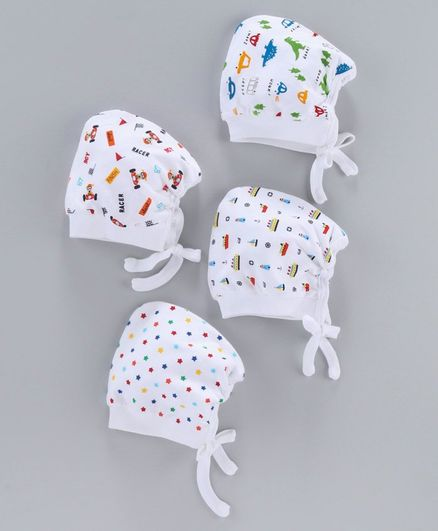 Simply Bonnet Caps Pack of 4 - White