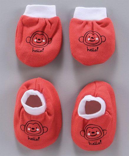 Simply Mittens & Booties Monkey Print - Peach