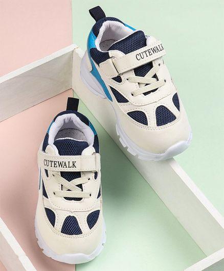 Cute Walk by Babyhug Sports Shoes - Cream & Navy