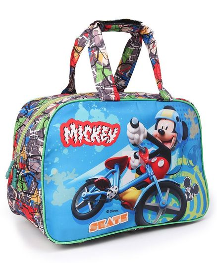 Disney Mickey Mouse with Cycle Print Multipurpose Duffel Bag, Blue - 12 Inches