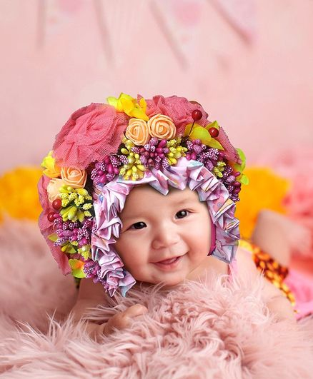 Babymoon Bonnet Cap New Born Baby Photography Shoot Props Costume - Baby Pink